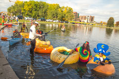 Utah Great Pumpkin Regatta. October 17, 2015 - Racers participate in the Utah Great Pumpkin Regatta at Sugarhouse Park, Salt Lake City, Utah Royalty Free Stock Images