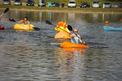 Utah Great Pumpkin Regatta. October 17, 2015 - Racers participate in the Utah Great Pumpkin Regatta at Sugarhouse Park, Salt Lake City, Utah Royalty Free Stock Image