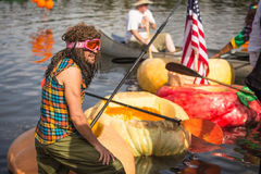 Utah Great Pumpkin Regatta. October 17, 2015 - Racers participate in the Utah Great Pumpkin Regatta at Sugarhouse Park, Salt Lake City, Utah Royalty Free Stock Photos