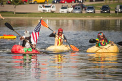 Utah Great Pumpkin Regatta. October 17, 2015 - Racers participate in the Utah Great Pumpkin Regatta at Sugarhouse Park, Salt Lake City, Utah Stock Photography