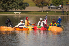 Utah Great Pumpkin Regatta. October 17, 2015 - Racers participate in the Utah Great Pumpkin Regatta at Sugarhouse Park, Salt Lake City, Utah Stock Photo