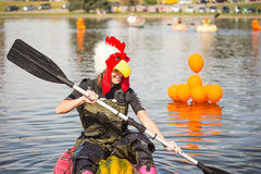 Utah Great Pumpkin Regatta. October 17, 2015 - Racers participate in the Utah Great Pumpkin Regatta at Sugarhouse Park, Salt Lake City, Utah Royalty Free Stock Photo