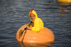Utah Great Pumpkin Regatta. October 17, 2015 - Racers participate in the Utah Great Pumpkin Regatta at Sugarhouse Park, Salt Lake City, Utah Stock Image