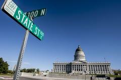Utah huvudbyggnad, gatatecken, Salt Lake City royaltyfri foto