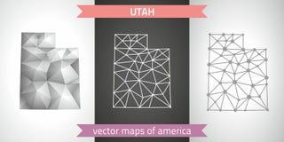 Utah kolekcja wektorowego projekta map, szarej, czarnej i srebnej kropka konturu mozaiki 3d mapa nowożytna, Obraz Royalty Free