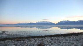 Utah Lake Dolly Low. Beautiful shot of Utah Lake in the winter time stock video