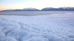 Utah Lake Frozen Dolly. Beautiful shot of Utah Lake in the winter time stock video