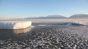 Utah Lake Frozen Ice Chunk. Beautiful shot of Utah Lake in the winter time stock video footage