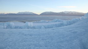 Utah Lake Frozen Ice Sheet Dolly 2. Beautiful shot of Utah Lake in the winter time stock video footage