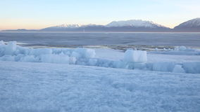 Utah Lake Frozen Ice Sheet Dolly. Beautiful shot of Utah Lake in the winter time stock video footage