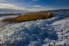 Utah Lake ice Sheets in the winter Stock Photos
