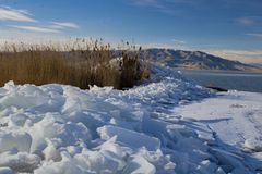 Utah Lake ice Sheets in the winter Stock Image