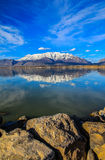 Utah Lake and Mountains Stock Images