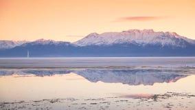 Utah Lake Pan Tight. Beautiful shot of Utah Lake in the winter time stock video