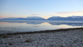 Utah Lake Shore Dolly Shot. Beautiful shot of Utah Lake in the winter time stock video