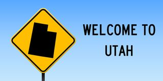 Utah map on road sign. Wide poster with Utah us state map on yellow rhomb road sign. Vector illustration royalty free illustration