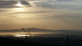 Utah mountains in the spring. Great salt lake utah at the start of a storm Stock Photography