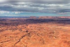 Utah-naalden over*zien-Mening van het Nationale Park van Canyonlands stock foto's