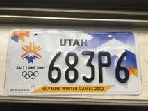 Utah 2002 Olympic license plate royalty free stock photo
