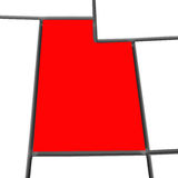 Utah Red Abstract 3D State Map United States America. A red abstract state map of Utah a 3D render symbolizing targeting the state to find its outlines and Royalty Free Stock Photography