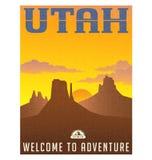 Utah-Reiseplakat oder -aufkleber stock abbildung