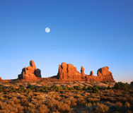 Utah Rock Forms And Moon Stock Photo