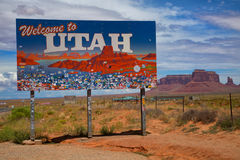 Utah sign in Monument Valley Stock Photography