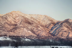 Utah snow capped mountains with sun setting Royalty Free Stock Photo