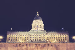 Utah State Capitol building in Salt Lake City at night, USA. Vintage toned picture of Utah State Capitol building in Salt Lake City at night, USA Royalty Free Stock Photo