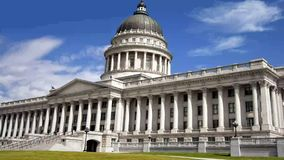 Utah State Capitol Building in Salt Lake City. The sun shines bright on the front of the Utah State Capitol Building in Salt Lake City, Utah stock video footage