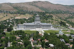 Utah State Capitol Building. View of Capitol Hill in Salt Lake City, Utah, USA and the Capitol Building which houses the Utah State Legislature Stock Photography