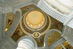 Utah State Capitol Rotunda Ceiling. The rotunda ceiling of the Utah State Capitol with chandelier and arches Stock Photos