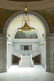Utah State Capitol Supreme Court Entrance. The stairway and entrance to the Supreme Court in the Utah State Capitol with arch and chandelier Royalty Free Stock Photo