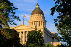 Utah State Capitol with warm evening light, Salt Lake City. Salt Lake City is the capital and the most populous city in Utah stock image