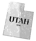 Utah State and Date Map Grunged Stock Photo