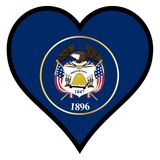 Love Utah. Utah state flag within a heart all over a white background Royalty Free Stock Photo