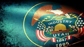 Utah State Flag Waving, grunge look. Utah State Flag Waving grunge look, video footage stock video
