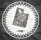 Utah state map. Image relative to USA travel. Utah state map textured by lines and dots pattern. Stamp in the shape of a circle royalty free illustration