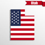 Utah State map with US flag inside and ribbon Royalty Free Stock Photo