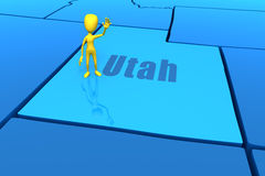 Utah state outline with yellow stick figure Royalty Free Stock Photo