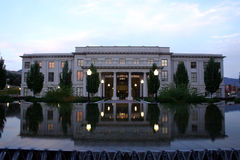 Utah State Senate Building. The building where the Utah state senate meets and it's reflection in a fountain in front at sunset stock photography