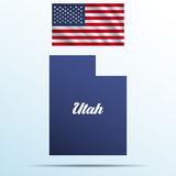 Utah state with shadow with USA waving flag Royalty Free Stock Photo