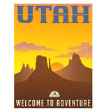 Utah travel poster or sticker. Vector illustration of monument valley at sunset Royalty Free Stock Images