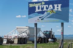 Camion on Road Welcome to Utah. Stock Photos