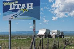 Camion on Road Welcome to Utah. Stock Image
