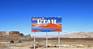 Utah, USA: Landscape with Welcome Sign royalty free stock photos