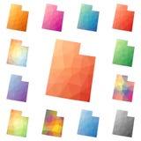 Utah utformar geometriska polygonal, mosaik oss tillståndet Royaltyfri Fotografi