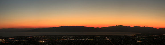 Utah valley sunset panorama. Stock Photo