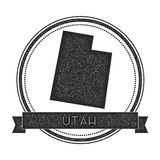 Utah vector map stamp. Retro distressed insignia with US state map. Hipster round rubber stamp with Utah state text banner, USA state map vector illustration Royalty Free Stock Image