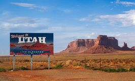 Utah Welcome Sign. In Monument Valley Royalty Free Stock Photos